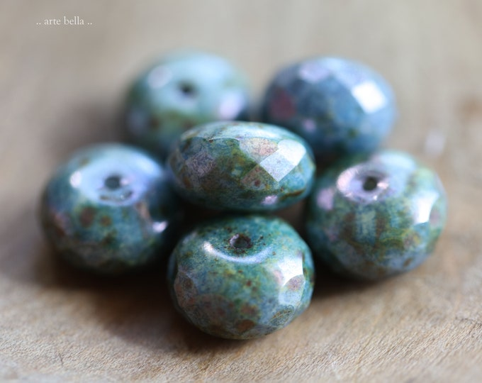 BLUE MOSS PLUMPS .. New 6 Premium Picasso Czech Glass Faceted Rondelle Beads 9x14mm (9195-6)