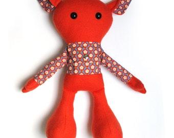 Rag doll with secret pocket pouch / plush toy / stuffed toy / cloth doll / stuffed animal / send a message / secret message / orange doll