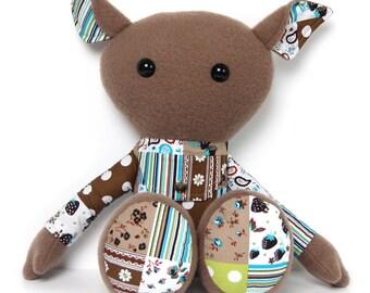 Rag doll with secret pocket pouch / plush toy / keepsake doll / stuffed toy / cloth doll / stuffed animal / secret message / patchwork style