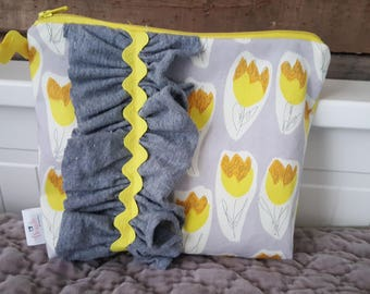 Gray and Yellow ruffled Pouch