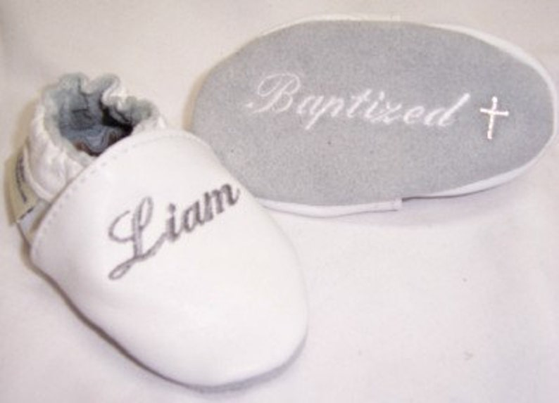 Baby Shoes Baptism Christening Leather With Name Embroidered Etsy
