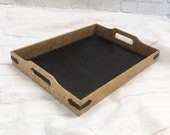 Upcycled Vintage Decorative Serving Ottoman Tray Wood Leather Alligator Storage Organizer 16