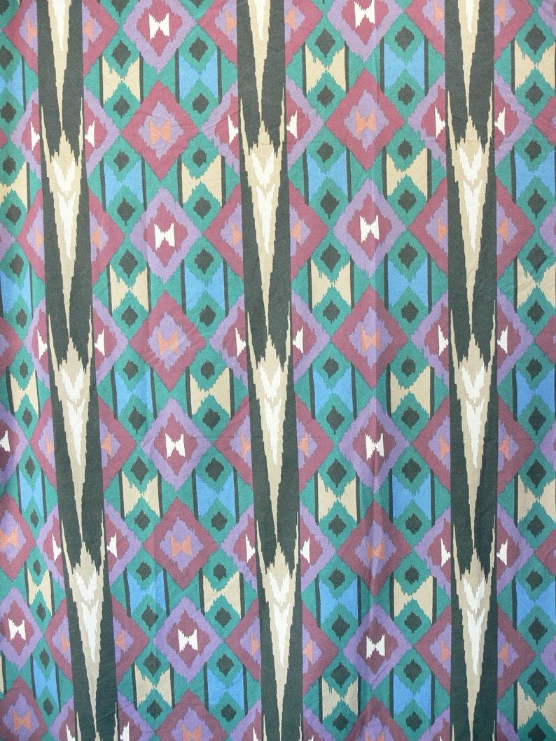 Vintage 80s Southwestern Print Full Flat Bed Sheet Teal Plum Black Tan Diamond Striped Pattern