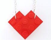 Heart Necklace Handmade with with LEGO(r) plates Silver or Gold Plated Chain