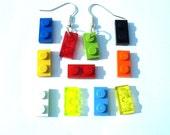 Dangle earrings Handmade with LEGO(r) 1x2 plates