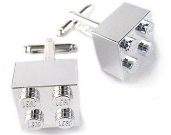Chrome Plated Silver Brick Cufflinks Handmade with LEGO Bricks Silver Plated cuff links wedding jewellery accessories groom dad gift him
