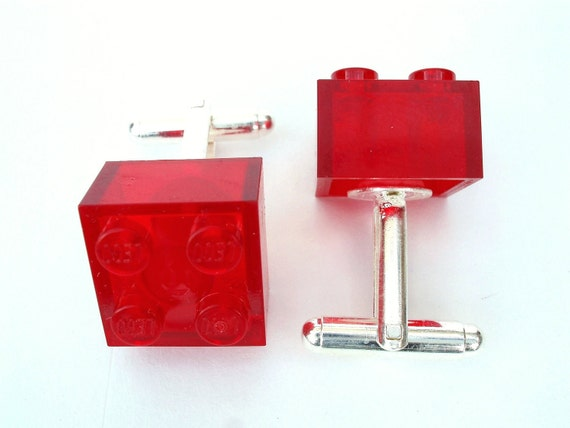 Transparent Red Brick Cufflinks Handmade with LEGO r bricks