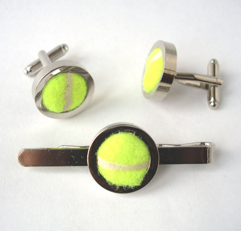 Cufflinks and Tie Bar made from Real Tennis Balls Groomsmen Cufflinks /& Tie Clip Wedding Cufflinks Tie Slide Groom Cufflinks