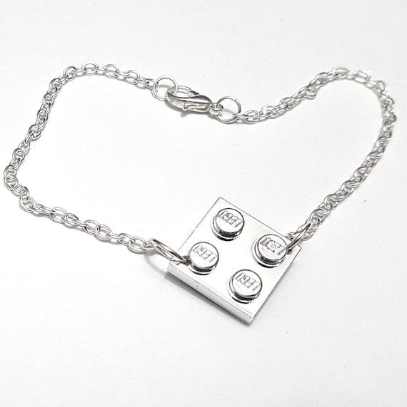 WHITE  LEGO BLOCK  SILVER EARRINGS 1 x 4  IN GIFT BOX