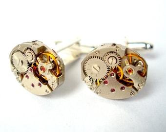 Watch Movement Cufflinks with Rubies silver plated Clock Cufflinks Watch Cufflinks Steam Punk Cufflinks mens jewellery gift jewelry groom