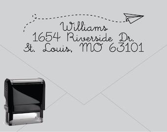 Self Inking Return Address Stamp Custom Rubber E035 Paper Airplane