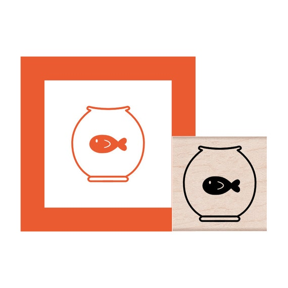 cute rubber stamp stamp for scrapbooking fish stamp Fish bowl stamp fish stamp set fish craft fish bowl craft arts and crafts supply