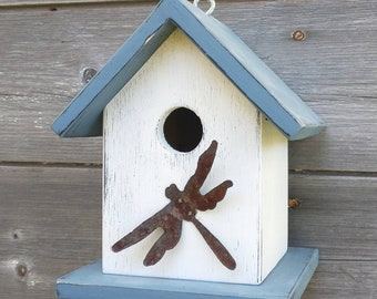 Birdhouse Dragonfly Outdoor Handmade in USA. One of a Kind.