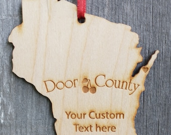 Door County Wisconsin State Ornament Cherries and Heart Personalized