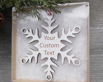 Snowflake Ornament Personalized.  USA made.