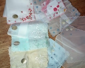 9 silk and voile embroidered hankies