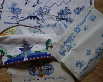 pretty willow pattern style embroideries