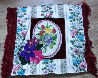vintage needlepoint cushion cover 19x17 inches