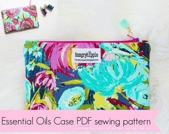 Essential Oils Cosmetic Case Travel Bag PDF instant download sewing pattern, zipper case oils pattern, sewing