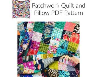 Patchwork Quilt & Pillow PDF Pattern