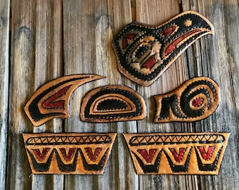 Eagle Spirit Grouping - copper metal tribal wall art sculpture - Pacific Northwest Coast Indian inspired - repurposed - black and red colors