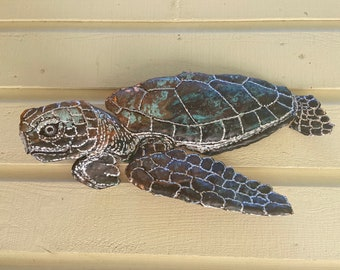 Green Sea Turtle Swimming -  repurposed copper metal underwater sea sculpture - wall art hanging - blue-green patina white gold silver paint