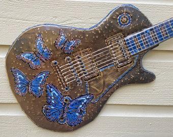 Butterfly Les Paul Guitar - hammered brass metal electric guitar rockstar sculpture - wall art hanging - blue gold silver copper black paint