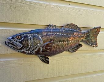 Trophy Largemouth Bass - repurposed copper metal - freshwater gamefish sculpture - wall art hanging - verdigris blue-green patina oil paints
