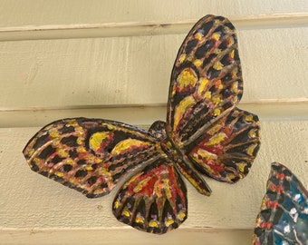 Yellow Painted Butterfly - brass metal flying insect art sculpture - wall hanging - verdigris green and oil-based paint accents - repurposed