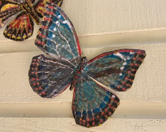 Blue Painted Butterfly - brass metal flying insect art sculpture - wall hanging - verdigris blue and oil-based paint accents - repurposed