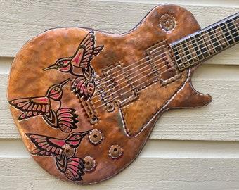 Hummingbird Les Paul Guitar - hammered copper metal electric guitar rockstar sculpture - wall art hanging - red gold silver black oil paint