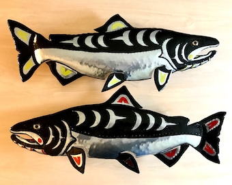 DESIGN YOUR OWN - Chinook Salmon Sculpture - Aluminum Metal Fish Tribal Wall Art - Pacific Northwest Coast Indian inspired - black red blue