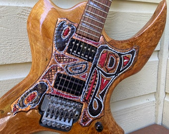 Wolf Spirit Copper Pick Guard sculpture - Handbuilt Maple Ax electric guitar - Pacific Northwest Coast Indian inspired - red, black patina