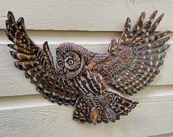 Great Gray Owl - repurposed copper metal raptor bird-of-prey art sculpture - art wall hanging - verdigris blue-green patina and oil paints