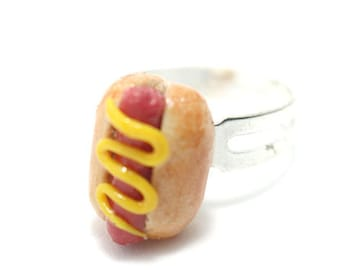 Hot Dog Ring, Miniature Food Jewelry, Polymer Clay Food Jewelry
