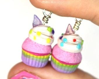 Unicorn Rainbow Cupcake Charm, Miniature Food Jewelry, Polymer Clay Food Jewelry
