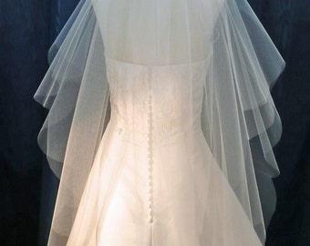 Wedding Veil Fingertip length 2 Tier Scalloped Plain Edge