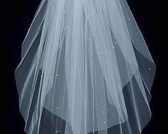 2 tier plain edge elbow length wedding veil Rhinestone accented  Sale