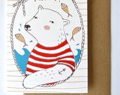 Greeting card - Ahoy Polar Bear - sailor - nautical - postcard - hello