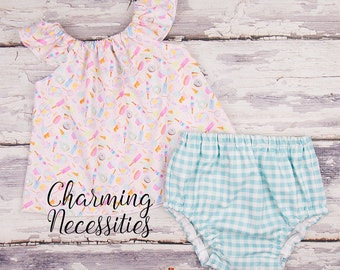 Doughnuts Ice Cream and Cotton Candy Outfit Baby Girl Clothes Toddler Girl Clothes, Spring, Spring Baby Outfit, Newborn Coming Home Hospital