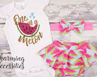 62d7e9a1a Watermelon First Birthday Outfit One in a Melon First Birthday Outfit  Watermelon Bummies Bow Baby Toddler Girl Clothes Pink Blue