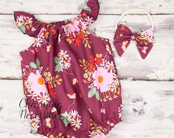 be54ba85655e Baby Girl Clothes Modern Floral Romper Bow Wine Burgundy Wildflower Bubble  Newborn Coming Home Hospital Outfit Baby Shower Gift 3 6 9 12 18