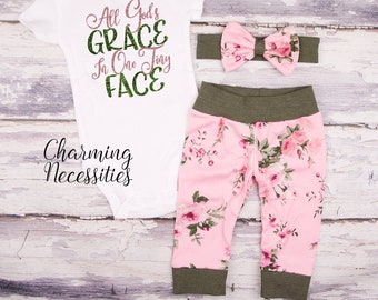 fed9c9b7c All Gods Grace in One Tiny Face Newborn Outfit Baby Girl Coming Home Outfit  Toddler Girl Clothes pink green roses floral 3 6 9 12 18 months