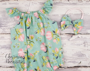 37027d5b9e4 Mint Pink Floral Romper Bow Baby Girl Easter Bubble Newborn Coming Home  Hospital Outfit Baby Shower Gift Clothes 3 6 9 12 18 months