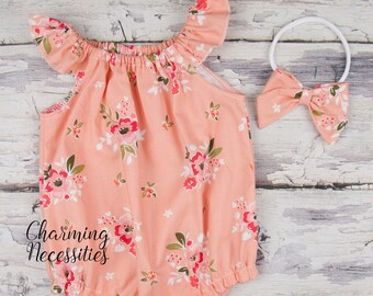 006b5c22660 Light Apricot Floral Romper Bow Baby Girl Summer Boho Bubble Newborn Coming  Home Hospital Outfit Baby Shower Gift Clothes 3 6 9 12 18 months