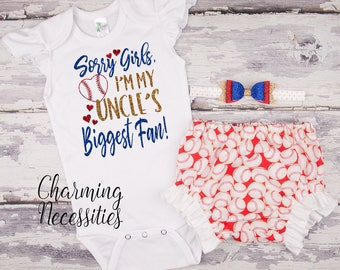 e23a07d7560 Baby Girl Baseball Niece Outfit Sorry Girls I m My Uncles Biggest Fan  Toddler Clothes Baby Shower Gift 0 3 6 9 12 18 24 2T 3T red royal blue