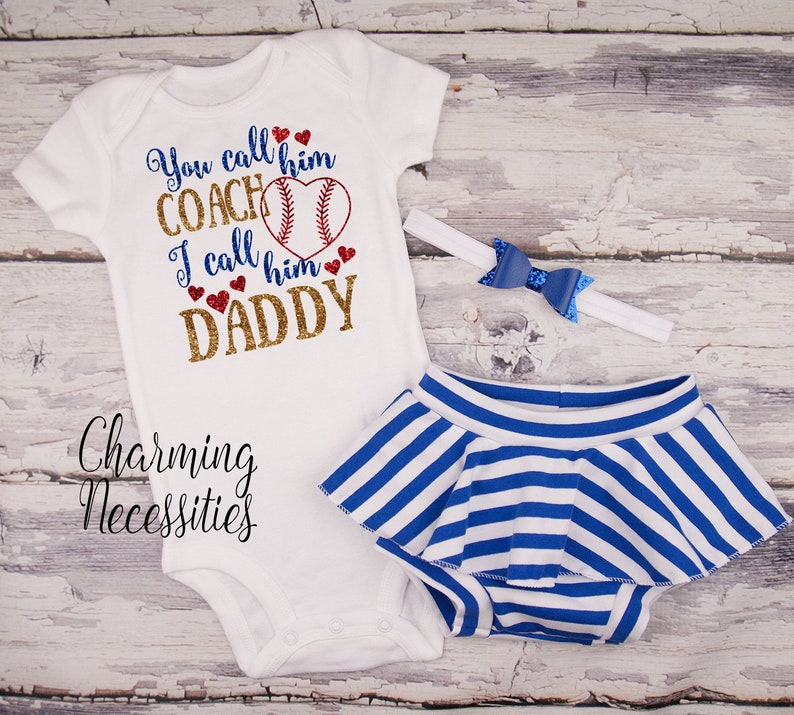 43ec7894c608 You Call Him Coach I Call Him Daddy Baseball Outfit Coach Daughter Outfit  Baby Girl Clothes Baby Shower Birthday Gift royal red gold