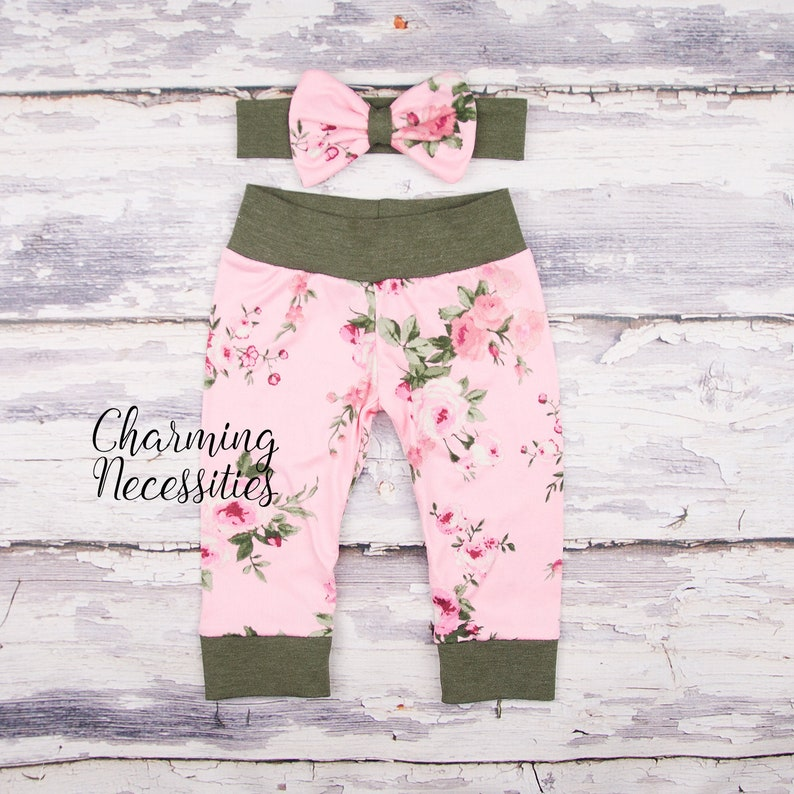ab5742daa Pink Green Floral Roses Baby Girl Leggings Coming Home Outfit | Etsy