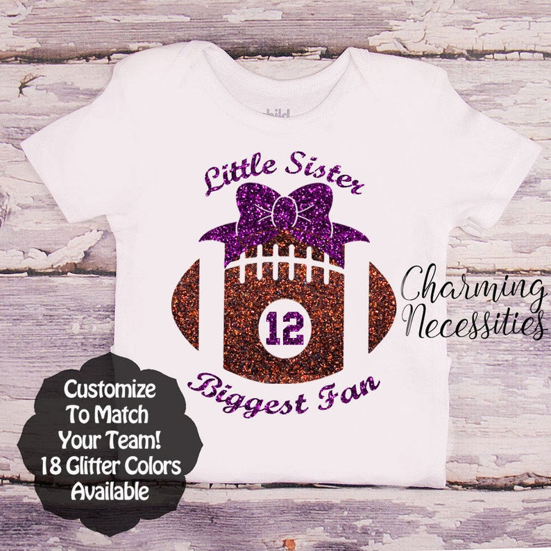 4127a8f170c2 Little Sister Biggest Fan Football Shirt Baby Toddler Girl