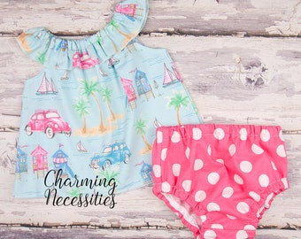 Retro Beach Babe Baby Girl Ruffle Neck Top Bloomies, Toddler Clothes, Coming Home Hospital, Newborn 3 6 9 12 18 months Baby Shower Gift